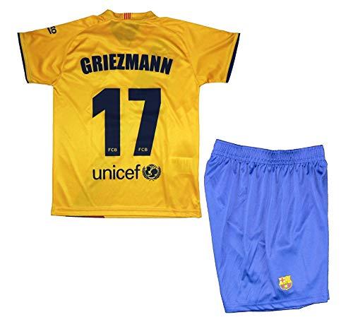 FCB shirt en broek voor kinderen Griezmann van FC Barcelona, officieel gelicentieerd product, seizoen 2019-2020, geel