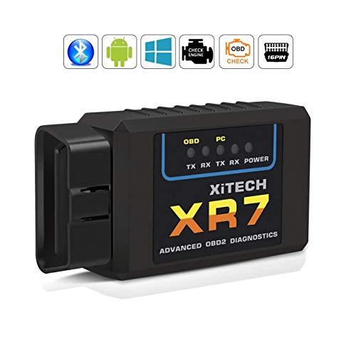 OBD2 Bluetooth Adapter, Auto diagnosegerät OBD II Code Scanner Das nur mit Android & Windows Geräten Kompatibel ist OBD2/EOBD CAN für Lesen und Löschen Fehlercode und Batterie Test