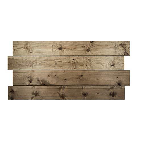 Decowood - Cabecero para Cama Dormitorio, Lamas Horizontales Asimétricas, Madera de Pino Envejecido - 160 x 80 cm