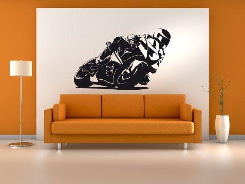 PrimeStick Wandtattoo Wandaufkleber MotoGP Motorrad #187B schwarz 142x90cm (RAL9005)