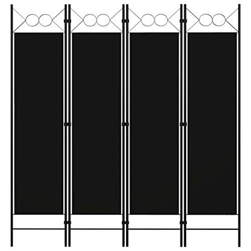 vidaXL Biombo Divisor de 4 Paneles de Pie Plegable Separador Habitación Dormitorio Estancia Decoración Partición Privacidad Negro 160x180 cm
