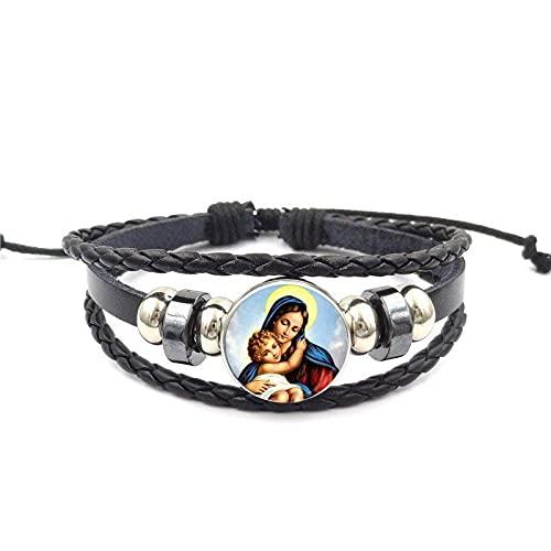 Virgen María Madre Del Bebé Pulsera De Cuero Negro Brazalete De Cristal Joyas De Cabujón