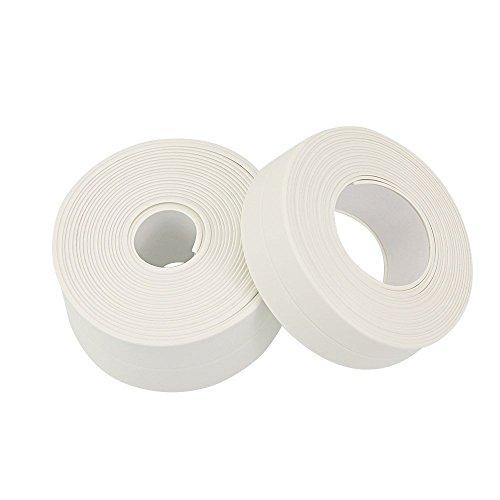 Kbnian 2 Stück wasserdicht Dichtungsband Selbstklebend Dichtband PVC Fugendichtungsband für Badezimmer, Dusche, Küche, Wand Ecke, Weiß 3,8 cm x3,2 m; 2,2 cmx3,2 m