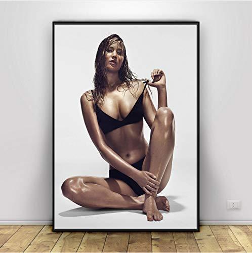 yuyu-beautiful Jennifer Lawrence Bikini Poster Und Drucke Leinwand Poster Wandkunst Und Kunst Leinwand Malerei Druckt Wandbild Für Wohnkultur 50X70Cm Ungerahmt