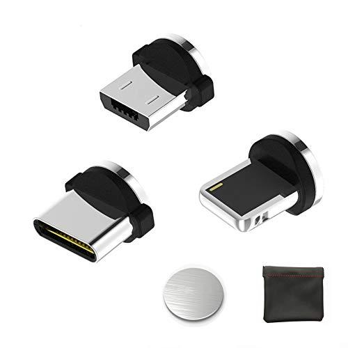Kyerivs Magnetisches USB Ladekabel Micro Light Typ C Kabel Ladegerat mit LED fur HandyAndroid 3 in 1 mehrere Ladeadapter No Sync Data Zubehor MicroTyp CLighting