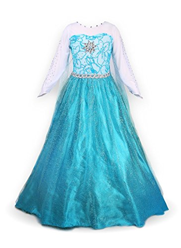 NICE SPORT Petites Filles Princesse Elsa Manches Longues Robe Costume,Bleu, (3-4 ans)