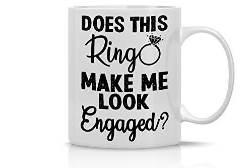Taza de café con texto en inglés «Does This Ring Make Me Look Engaged», 325 ml, divertido regalo perfecto para compañeros de trabajo y jefe