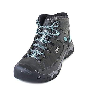 KEEN Women's Targhee 3 Mid Waterproof Hiking Boot, Alcatraz/Blue Turquoise, 9 M (Medium) US