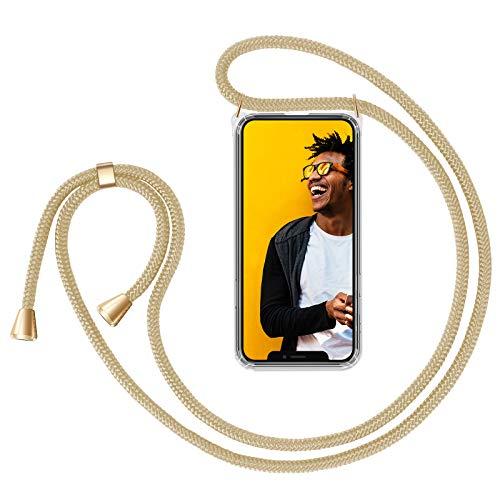 """ZhinkArts Handykette kompatibel mit Apple iPhone 12/12 Pro - 6,1"""" Display - Smartphone Necklace Hülle mit Band - Schnur mit Case zum umhängen in Beige"""