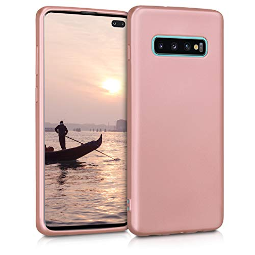 kwmobile TPU Silicone Case for Samsung Galaxy S10 Plus - Soft Flexible Shock Absorbent Protective Phone Cover - Metallic Rose Gold