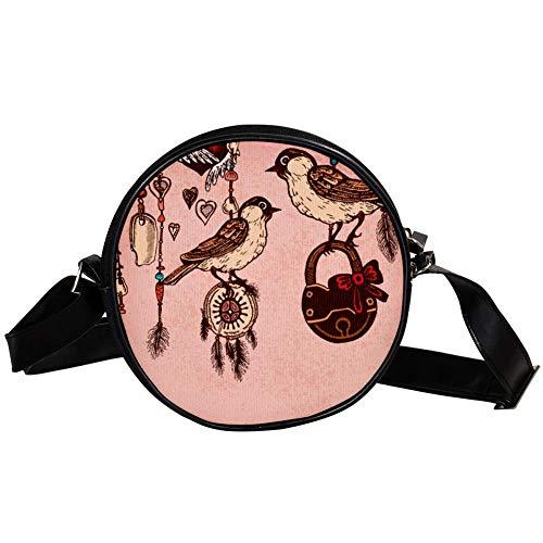 Bennigiry Damen Handtasche mit Federn und Streifen