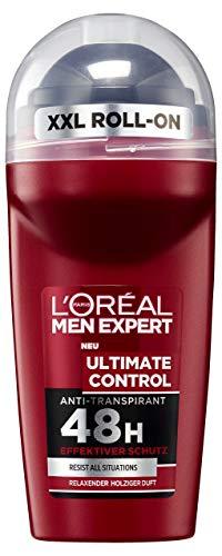 L\'Oréal Men Expert Ultimate Control Deo Roll-On, schützt 48H gegen verschiedene Arten von Schweiß holzig-frischer Duft ohne Alkohol (6 x 50 ml)