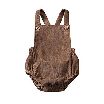 Kuriozud Infant Baby Boy Girl Corduroy Romper Plain Bodysuit Crossback Strap Clothes  Coffee 0-3 Months