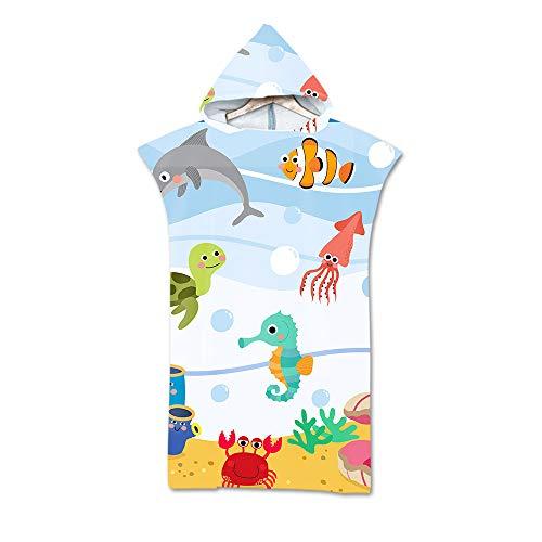 NQING Surf-Handtuch, Kapuzenmantel und Poncho, 3D Digital Digital Print Beach Sunscreen und winddichter Bademantel von Marine Life, Mikrofasertücher für Männer und Frauen