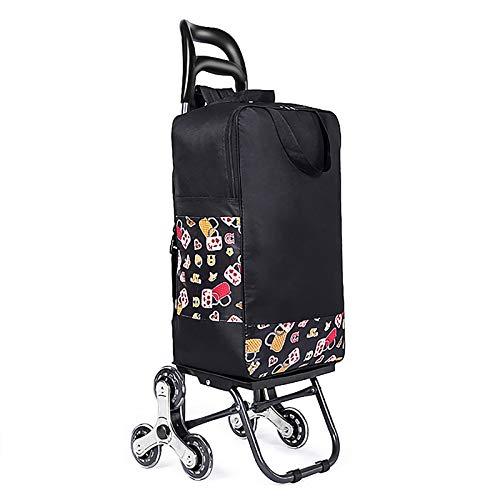 ZWNLL Faltbarer Einkaufstrolley Treppensteiger Einkaufstrolley leichter Einkaufstrolley Wasserdicht Große Kapazität Abnehmbare Lebensmitteltasche Trendy Supermarkt Rolltasche (schwarz)