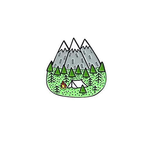 Outdoor-Abenteuer Pin-Serie treiben Picknick Urlaub Wald Karte Zelt Wüste Insel Sonnenuntergang Abzeichen Freunde Reise Brosche Schmuck