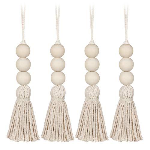 Vosarea - Juego de 4 cuentas de madera con perlas de oración naturales de algodón, línea decorativa, para colgar en la pared, pompón, perlas, colgante para armario, puerta