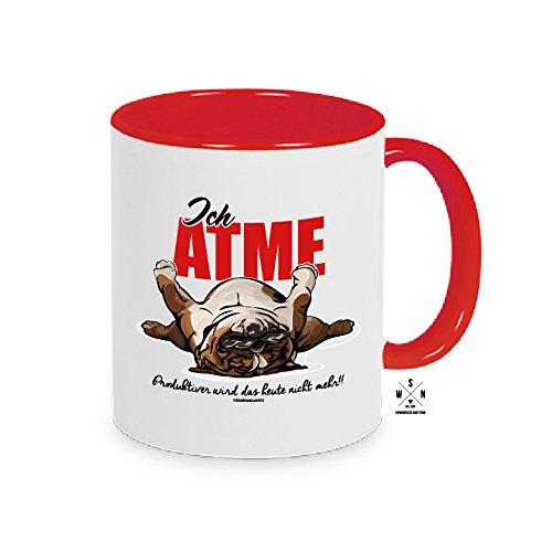 Siviwonder MUGWIL Tasse Kaffeebecher ICH ATME. Englische Bulldogge WILSIGNS rot
