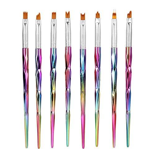 Nail Art Brush Set 8Pcs Professional Nail Brush Kit UV Gel Polish Pen Brush Nail Polish Extension Manicure Brush for Petal Painting Painting Carving Drawing Dotting