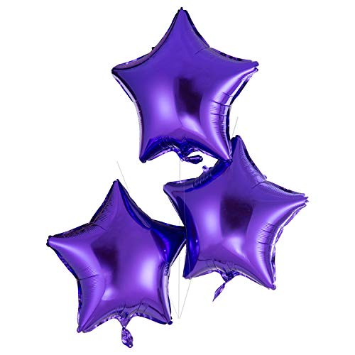 18 Inch Purple Star Mylar Balloons Helium Balloons Foil Party Balloons for Baby Shower Wedding Birthday Party Decorations, Pack of 20