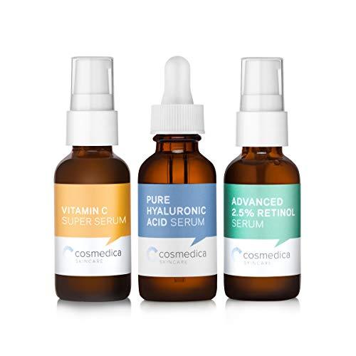 Cosmedica Skincare Trio Set Value- Vitamin C Super Serum Retinol Serum 2.5% Hyaluronic Acid Serum