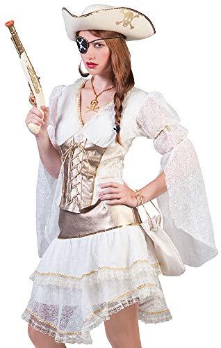 Piratin Amelia Kostüm für Damen Gr. 40 42 - Zauberhaftes Piraten Kleid in Weiß-Gold