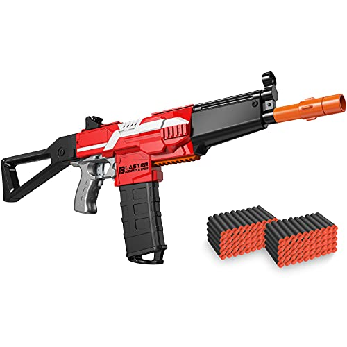 Automatic Machine Toy Gun for Nerf-Guns Foam Blasters - Toys for 6-12 Year Old Boys Birthday Gifts, Rechargeable 3 Burst Modes Toy Gun for Kids, with 100 Bullets, Red