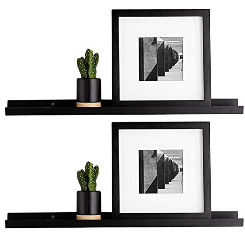 RANK Modern Photo Ledge Floating Shelves Wall Mounted Picture Frames Display Floating Shelf (Espresso, 2 x 24 inch)