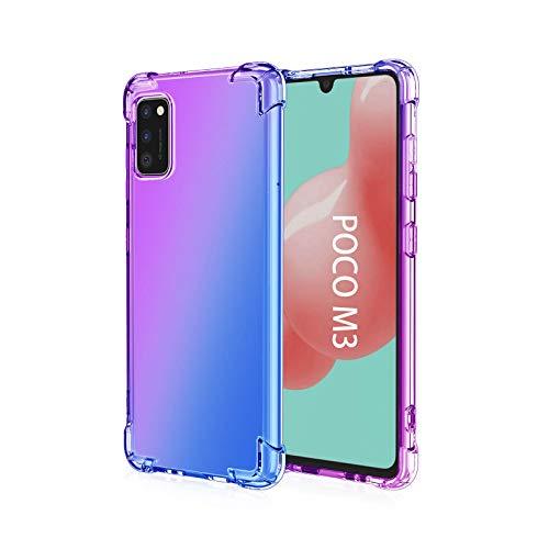 GOGME para Xiaomi Poco M3 Funda, Cubierta Delgado de Silicona Funda Protective Case Cover, Carcasa Fibra TPU [Diseño Durable] [Máxima Protección contra Golpes] - (Morado/Azul)