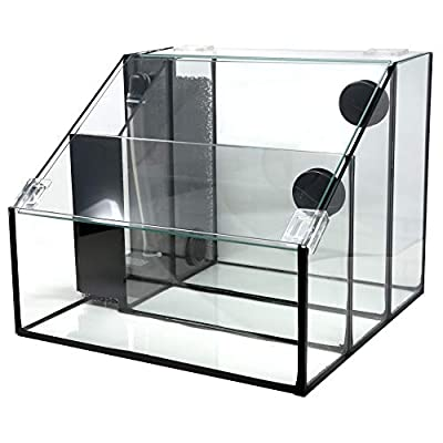 Penn-Plax Triad AquaTerrium Fish Tank (REPTT7) – 3 Chambers, 1 Biological Ecosystem – For Aquaponic, Refugium, and Freshwater Aquarium Setups – 3.25 Gallons,Crystal Clear Glass