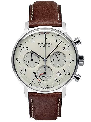 Iron Annie Herrenuhr Solar Chronograph Bauhaus mit braunem Lederband 5086-5