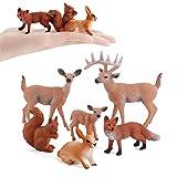 Juego de figuras de animales del bosque, 6 piezas de animales de bosque en miniatura, juguetes de plástico realista, animales del bosque salvaje para decoración de mesa de fiesta de cumpleaños