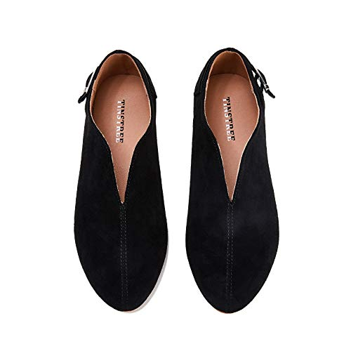 TINSTREE Dress Flat, Women's 2021 Round Toe Casual Work Business Daily Ladies Elegant Pointed Toe Slip on Flats Shoes (Black, Numeric_6)