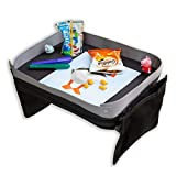 Modfamily Travel Tray for Kids-Lap Desk Organizes Snacks and Activities for Car, Airplane-Compatible with Any Car Seat/4-Sided Sturdy Walls, 2 Large Storage Pockets, Wear As Messenger Bag Or Backpack