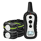 PATPET 301 Dog Training Collar for 2 Dogs, Shock Collar with Remote, w/3 Training Modes, Beep, Vibration and Shock, Up to 1000 ft Remote Range, Rainproof for Small Medium Large Dogs.