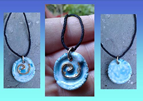Spiral Necklace Turquoise Porcelain Gold Lustre Ceramic Amulet