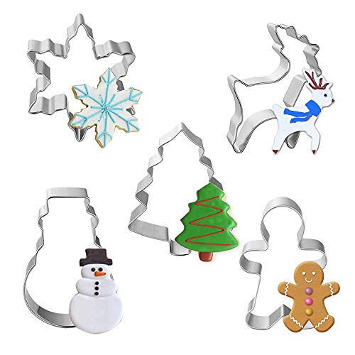XCOZU Set di 5 Formine per Biscotti Natalizi, 3D Stampi Biscotti in Acciaio Inox, Fiocchi di Neve, Albero di Natale, Renna, Pan di Zenzero, Pupazzo di Neve