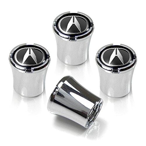 Chrome Valve Stem Caps for Acura Vehicles, Black & Chome Acura Logo