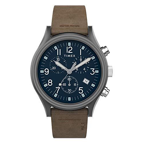 Reloj cronógrafo de acero MK1 de 42 mm con correa de cuero TW2T68000 para hombre (plomo/azul/marrón)