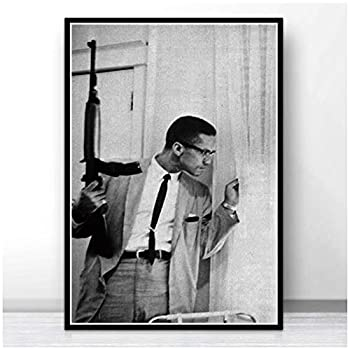 Black White Malcolm X With Gun Movie Actor Star Poster Wall Art Painting Picture Prints Canvas Living Home Room Decor-20x28 IN No Frame