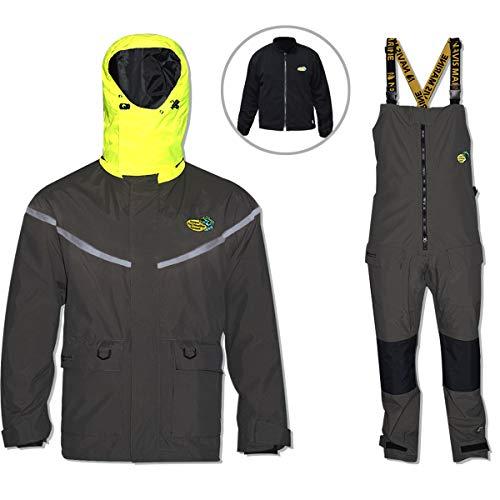 Navis Marine Pro Foul Wetterausrüstung Angeln Regenanzug für Herren Segeln, wasserdichte Jacke mit Latzhose, herausnehmbare isolierte Einlage, 3...