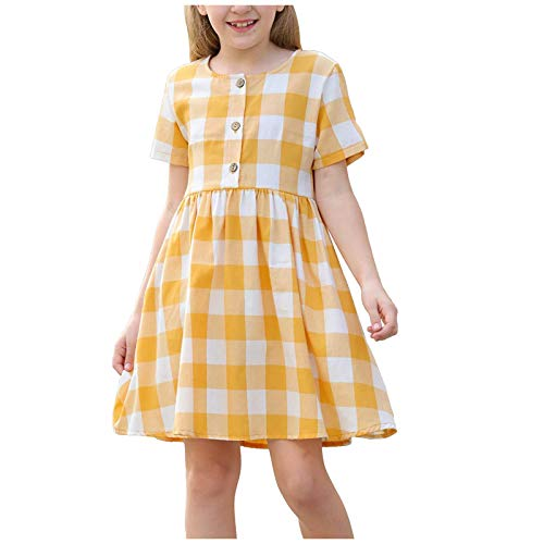 Kobay Mädchen Sommer interessant Muster Kleinkind Kinder Baby Mädchen Button Up Plissee Taille Lose Casual Plaid Kleid Prinzessin