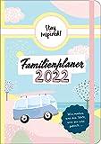 Familienplaner 2022 Hardcover mit 5 Spalten für bis zu 5 Personen in DIN A5. Familienkalender 2022 mit Extra-Seiten für viel Platz zur Essensplanung, ... Schulferien, Geburtstage und Kontakte