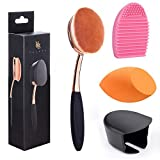 Large Rose Gold Foundation contour Round Toothbrush Dust Free Oval Makeup Brushes with Blending Sponge dustproof cover brush egg cleaner …
