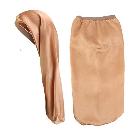 Ulalaza Bonnet de Nuit Chapeau de Couchage Satin Bonnet Cover Long Waves Hair Soft Beanie Headwear Comfy Headscarf Doo Shower Caps for Women Girls