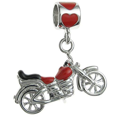 Queenberry Sterling Silber Emaille Motorrad im europäischen Stil Dangle Bead Charm