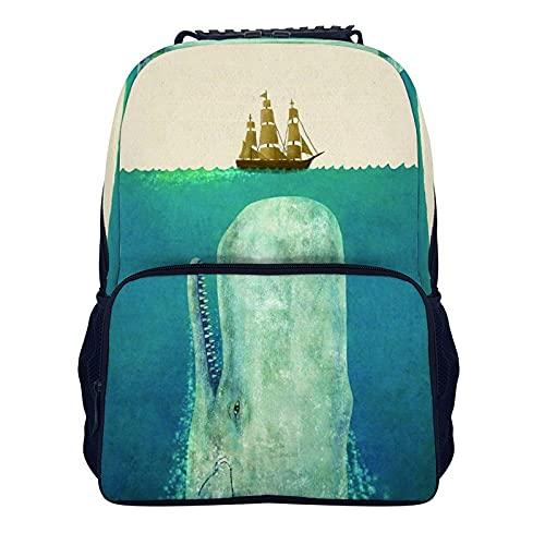 16 pulgadas hombro mochila azul ballena velero nautico animal 40x28x16cm mochila universidad bolsa de viaje para las mujeres