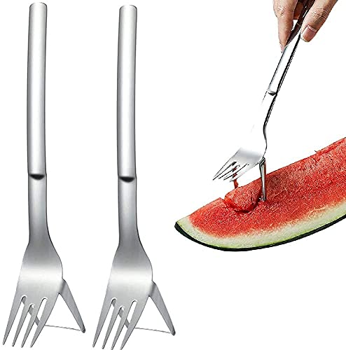 2 Pcs 2-in-1 Watermelon Cutter Stainless Steel Fruit Slicer Knife, Stainless Steel Melon Cuber Knife Watermelon Divider, Cut Watermelon Artifact and Divider, Melon Cuber Cutting Tool