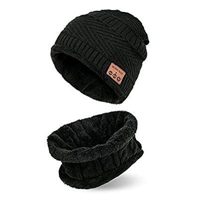 Bluetooth Beanie Music Warm Knitted Hat Scarf and Hat Set with Stereo Headphone Headset Speaker Wireless Mic Hands-Free for Men Women Fitness Outdoor Sport Jogging Skiing Hiking