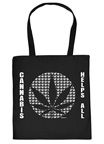 Cannabis Spruch/Motiv Tasche - Baumwolltasche Kiffer : Cannabis Helps All - Tragetasche Grass/Weed/Hanf - Farbe: Schwarz